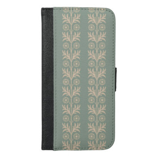 Pewter Arts and Crafts Floral Stripe iPhone 6/6s Plus Wallet Case