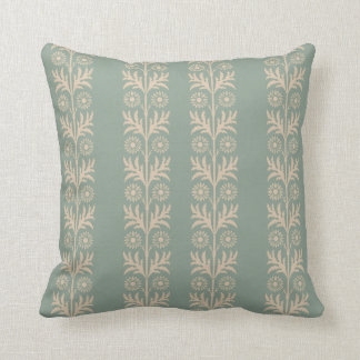 Pewter Arts and Crafts Floral Stripe Throw Pillow