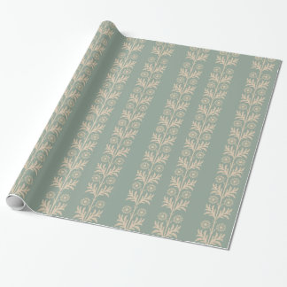 Pewter Arts and Crafts Floral Stripe Wrapping Paper