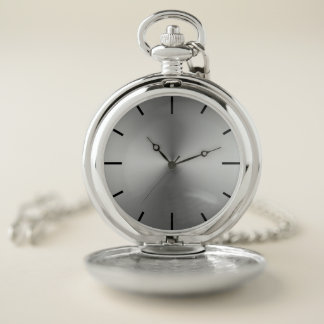 Pewter Brushed Steel Dial Pocket Watch