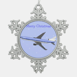 Pewter Christmas Ornaments - Airplane at Zazzle