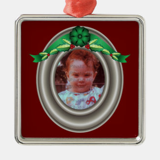 Pewter Color Photo Frame with Holly and Green Bow Metal Ornament