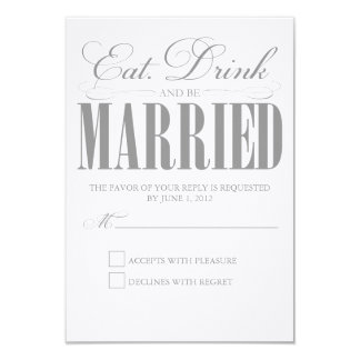 Pewter Eat, Drink & Be Married | Response Card