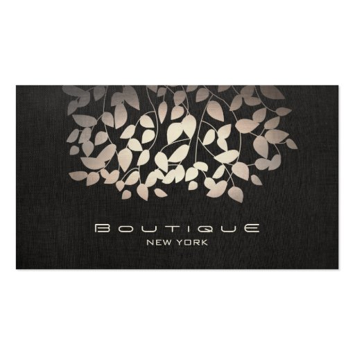 Pewter Foil and Faux Black Linen Look Boutique Business Card Template