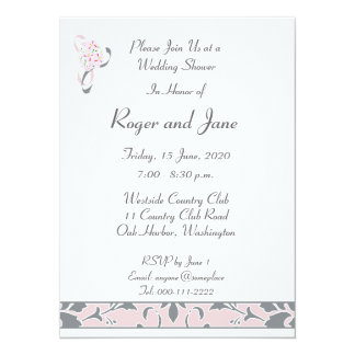 Pewter Gray, Blush Pink, Damask Bridal Shower Card