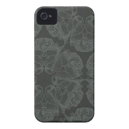 Pewter grey flowers stylish iphone 4 casemate case