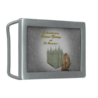 Pewter - I'm Proud to be a Mormon Rectangular Belt Buckle