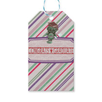 Pewter Look Owl Perched on Tags, Congrats Graduate Gift Tags