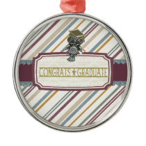 Pewter Look Owl Perched on Tags, Congrats Graduate Metal Ornament
