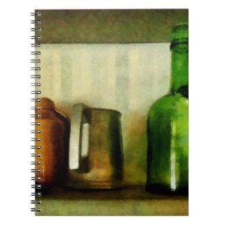 Pewter Mug and Green Bottle Notebook