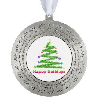 PEWTER ORNAMENT HAPPY HOLIDAYS CHRISTMAS TREE ART