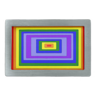 Pewter Rectangle Rainbow Belt Buckle