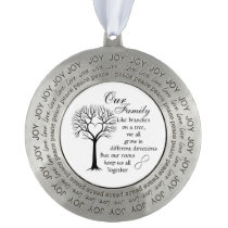 Pewter Round Christmas Ornament/Our family Tree Pewter Ornament