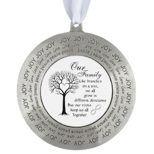 Pewter Round Christmas Ornament/our Family Tree Pewter Ornament at Zazzle