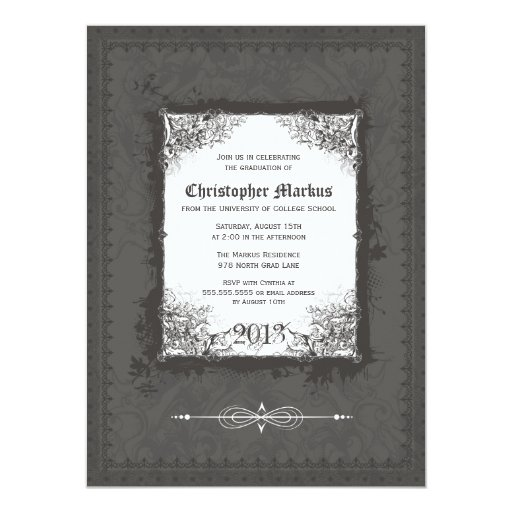 "Pewter scroll frame graduation party invitation 5.5"" x 7.5"" invitation card"