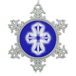 Pewter Snowflake Ornament/Blue Celtic Cross Snowflake Pewter Christmas Ornament
