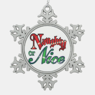 Pewter Snowflake Ornament/Naughty or Nice Snowflake Pewter Christmas Ornament