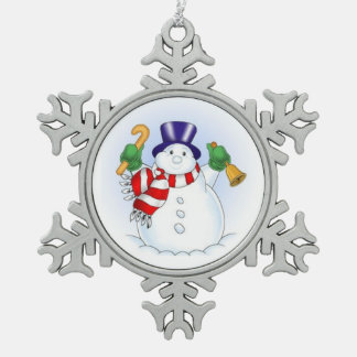 Pewter Snowflake Ornament/Snowman Snowflake Pewter Christmas Ornament