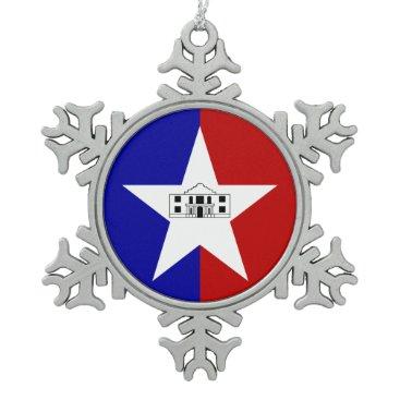 Pewter Snowflake Ornament with San Antonio Flag