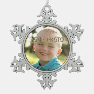 Pewter Snowflake Photo Chritmas Ornaments at Zazzle