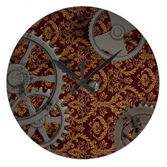 Pewter Steampunk Round Clock