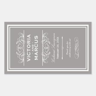 Pewter Wedding Wine Bottle Monogram Favor Labels Rectangular Sticker