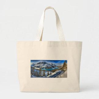Peyto Lake Winter Panorama Large Tote Bag