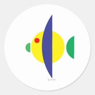 Pez amarillo classic round sticker