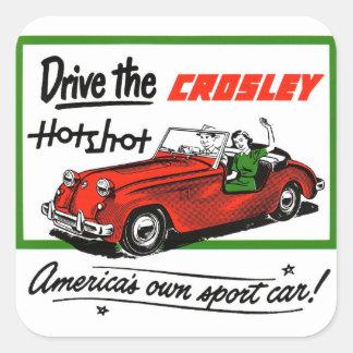 Pez gordo auto de Crosley del coche retro del kits Calcomania Cuadradas Personalizadas