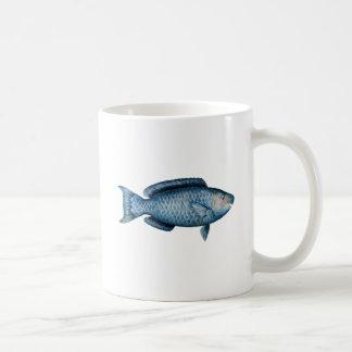 Pez papagayo azul taza de café