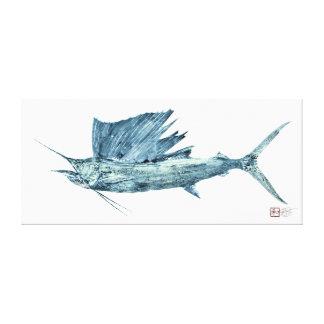 Pez volador atlántico de tamaño natural impresión en lona