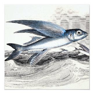 """Pez volador azul de los 1800s del vintage en olas invitación 5.25"""" x 5.25"""""""