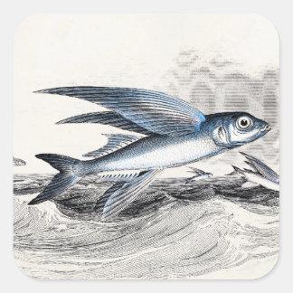 Pez volador azul de los 1800s del vintage en olas pegatina cuadrada