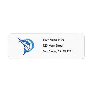 Pez volador azul tropical etiqueta de remite