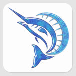 Pez volador azul tropical calcomania cuadrada personalizada