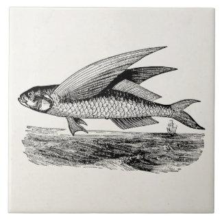 Pez volador del vintage - plantilla acuática de azulejo cuadrado grande