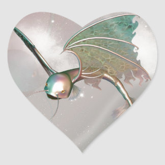 Pez volador divertido pegatina en forma de corazón