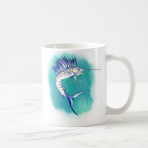 Pez volador en acuarela taza
