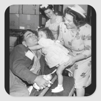 Pfc. Lee Harper, who was wounded_War Image Square Sticker