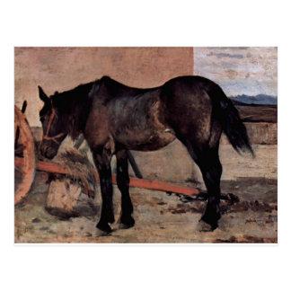 Pferd vor einem Wagen by Giovanni Fattori Postcard