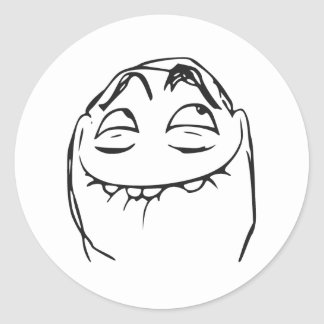 PFFTCH Laughing Rage Face Comic Meme Classic Round Sticker