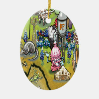 Pflugerville Texas Cartoon Map Ceramic Ornament