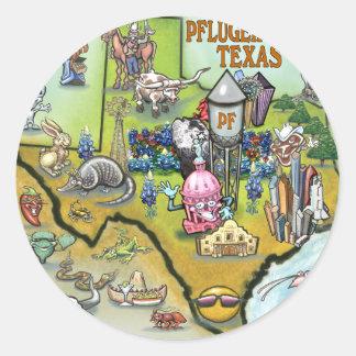 Pflugerville Texas Cartoon Map Classic Round Sticker