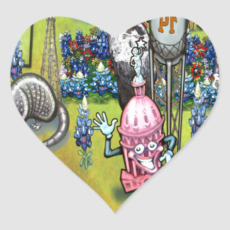 Pflugerville Texas Cartoon Map Heart Sticker