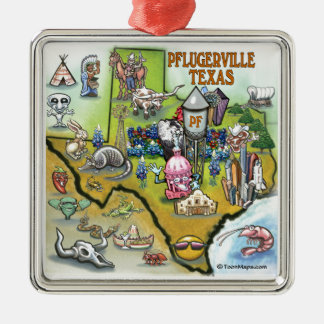 Pflugerville Texas Cartoon Map Metal Ornament