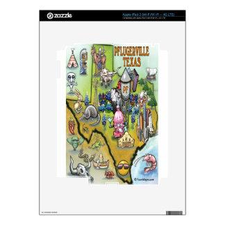 Pflugerville Texas Cartoon Map Skins For iPad 3