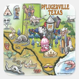 Pflugerville Texas Cartoon Map Square Sticker