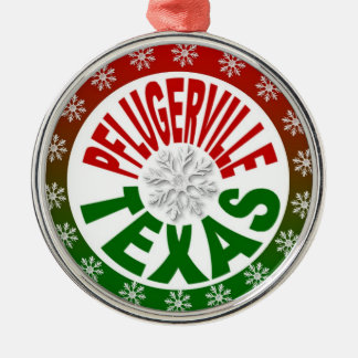 Pflugerville Texas red green snowflake ornament