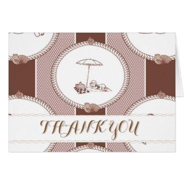 Beach Themed PH&D Beach Bums Baby Shower Thank You Card Brown