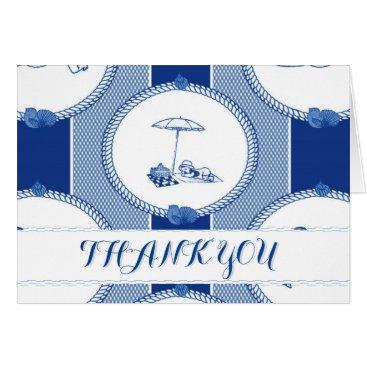 Beach Themed PH&D Beach Bums Baby Shower Thank You Card Navy